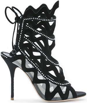 Sophia Webster Mila Black suede sandal with black satin: £595.