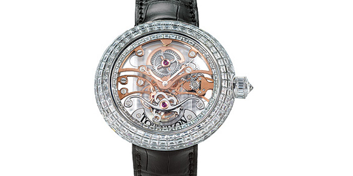 Jacob & Co. Crystal Tourbillon watch. The 18 carat white gold case of the Crystal Tourbillion is covered in 17.48 carats of baguette diamonds and has a transparent skeleton tourbillon dial. Price: US$900,000.