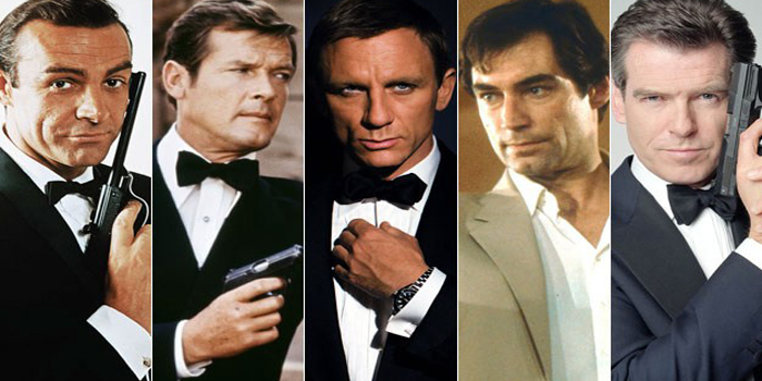 All six James Bonds: Bond has been played by six actors in his 50 year history: Sean Connery, George Lazenby (not pictured here), Roger Moore, Timothy Dalton, Pierce Brosnan and Daniel Craig, who owns the role now.