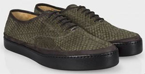 Paul Smith Olive Salmon Leather Jim Trainers: US$613.