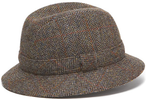 J.Press Men's Harris Tweed Hat Olive Herringbone: US$101.25.