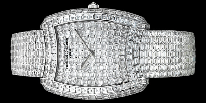 World's Most Expensive Watch #21: Vacheron Constantin Kalla Duchesse Métiers d'Art watch (reference: 81750/S01G-9198) 36 × 45 mm in 18K white gold set with 837 baguette-cut diamonds and 1 round-cut diamond, certified Hallmark of Geneva. Fully paved dial and bracelet, diamond-set crown. Vacheron Constantin Manufacture hand-wound mechanical movement 1400. Price: US$1,275,000