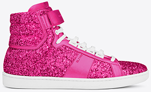 Yves Saint Laurent Signature Court Classic SL/14H High Top Women's Sneaker in Pink Glitter Fabric and Metallic Leather: US$795.