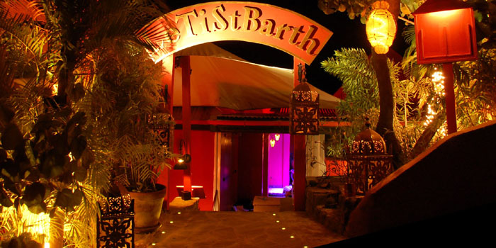 Le Ti St Barth, Pointe Milou, St. Barths, French West Indies - chef-owner Carole Gruson's restaurant, cabaret, tavern, lounge, dancing on top of the tables hot spot.