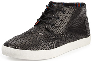 Toms Paseo Snake-Print Mid-Top Sneaker: US$125.