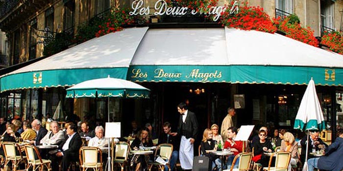 Café Les Deux Magots, 6, place Saint-Germain-des-Prés / place Saint-Germain-des-Prés in the Saint-Germain-des-Prés area of Paris, France.