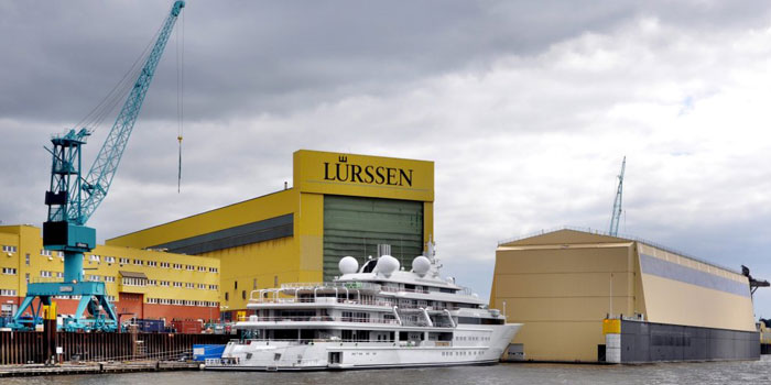 Lürssen Shipyard, Zum Alten Speicher 11, 28759 Bremen-Vegesack, Germany. Founded in 1875. One of the leading builders of custom superyachts such as Paul Allen's Octopus, David Geffen's Rising Sun, and Azzam, the largest private yacht in the world at 180m in length.
