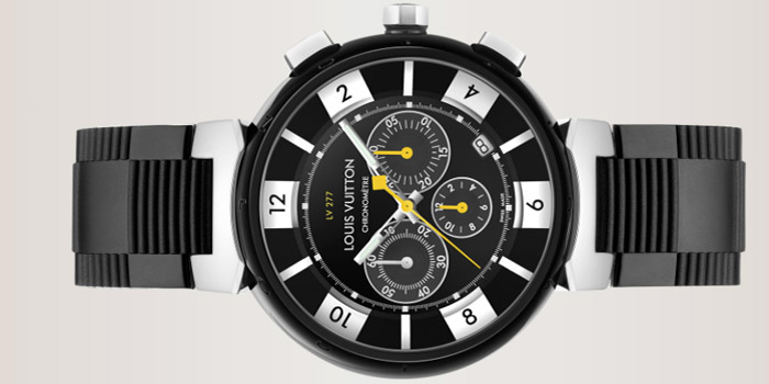Louis Vuitton Tambour in Black LV277 automatic chronograph, 44mm.