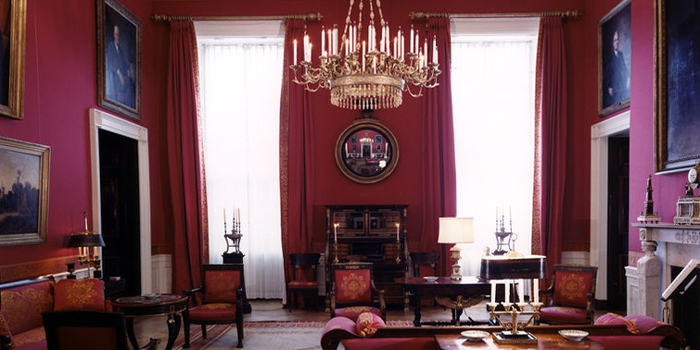The White House Red Room as designed by Stéphane Boudin of Maison Jansen.