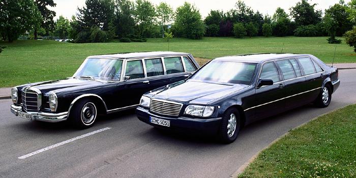 Mercedes-Benz 600 Pullman (1963) & Mercedes-Benz S600 Pullman Limousine W140 (1998).