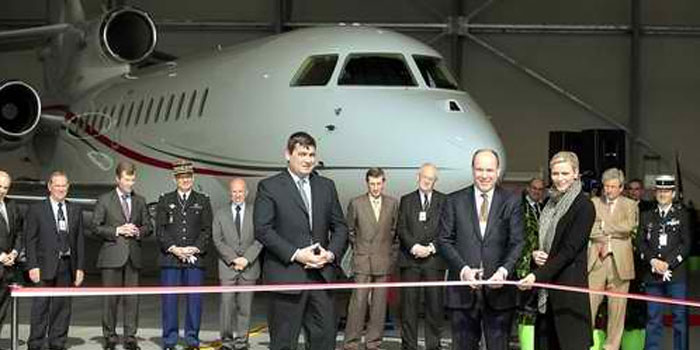 HRH Prince Albert II of Monaco takes delivery of new Falcon 7X.