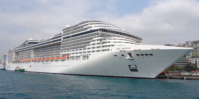 MS MSC Divina is a cruise ship owned and operated by MSC Cruises. It is the tenth largest cruise ship in the world. She can accommodate 3,959 passengers in 1,637 cabins; her crew complement is 1,325.