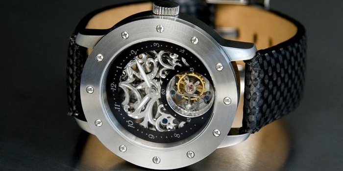 NakedWatch Company Tailored Tourbillon Skeleton Timepiece.