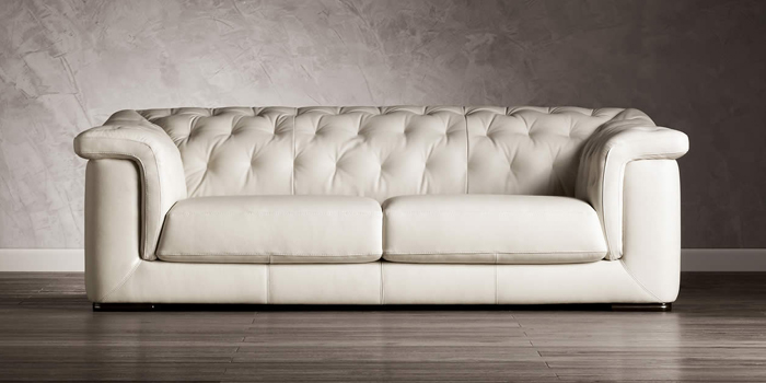 Natuzzi White Leather Sofa.