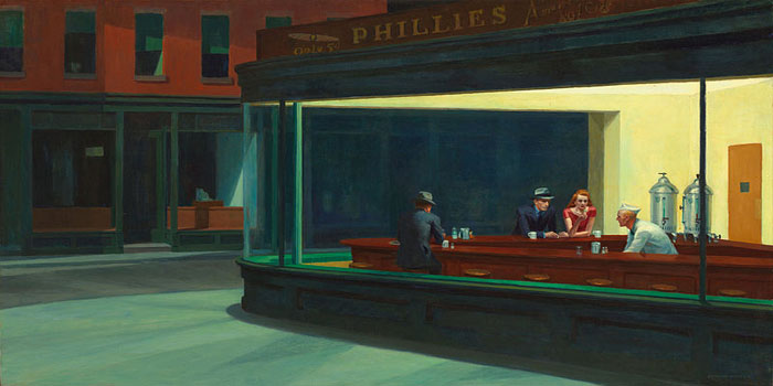 Nighthawks (1942) by American realist painter Edward Hopper (1882-1967).