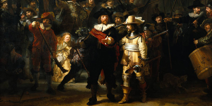 Section of the painting The Night Watch or The Shooting Company of Frans Banning Cocq (1642) by Dutch painter Rembrandt van Rijn (1606-1669).