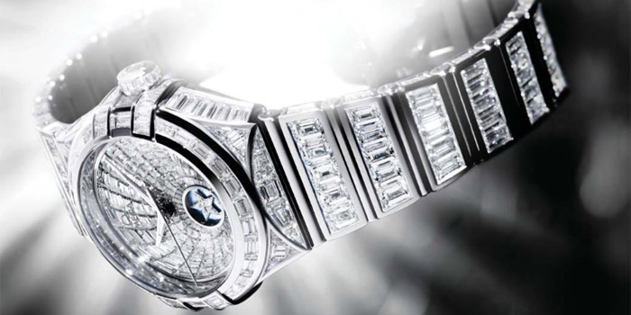 World's Most Expensive Watch #29: Omega Constellation Baguette watch. 459 Top Wesselton diamonds, totaling just over 30 carats. There are 146 baguette and trapeze diamonds on the dial, completely covering the 18 carat white gold case. Price: US$$708,742.