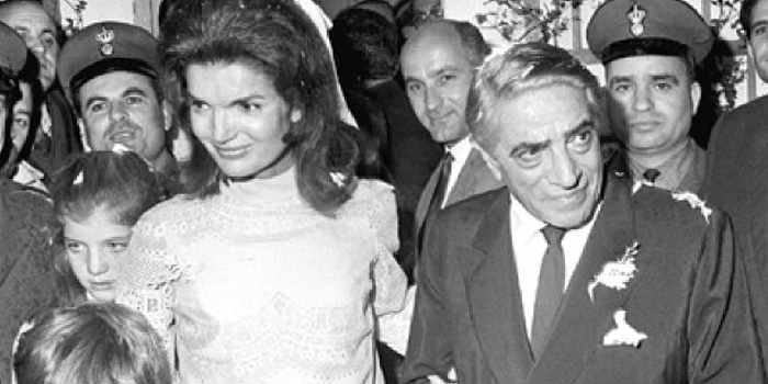 Greek shipping magnate Aristotle Onassis (1906-1975) married Jackie Bouvier Kennedy (1929-1994) in October 20, 1968 on his private island, Skorpios, Greece.