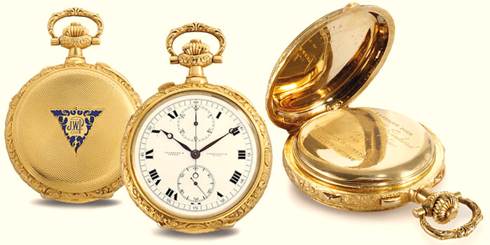 Vacheron Constantin Grand Complication, Movement No. 37555, Case No. 231922, pocket watch in 20-carat gold made for James Ward Packard in 1918 brought US$1,800,000 at Christie's New York auction on June 15, 2011.