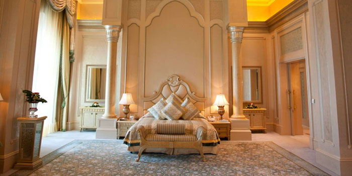 The master bedroom of the Palace Suite at Emirates Palace, West Corniche Road, Abu Dhabi, United Arab Emirates.