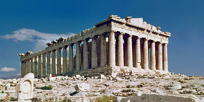 Parthenon (Athens, Greece) by architect Callicrates (447 BC - 432 BC).