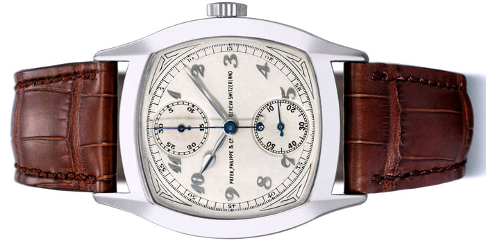 1928 Patek Philippe 18k white gold cushion-shaped single-button chronograph sold for US$3,637,408 at Christie's Auctions in Geneva on May 16, 2011.