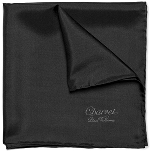 Charvet Black Silk Pocket Square: US$80.