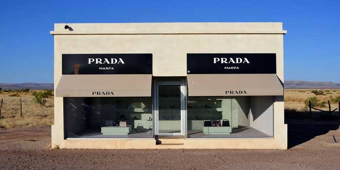 Prada Marfa is a permanently installed sculpture by artists Elmgreen and Dragset, about 60 km (37 mi) northwest of the city of Marfa, US Route 90, Valentine, Texas, U.S.A.
