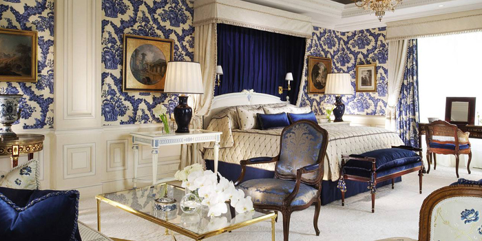 The Presidential Suite Bedroom at Four Seasons Hotel George V, 31 Avenue George V, 75008 Paris, France.