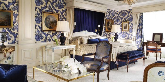 The Presidential Suite Bedroom at Four Seasons Hotel George V, 31 Avenue George V, 75008 Paris, France.