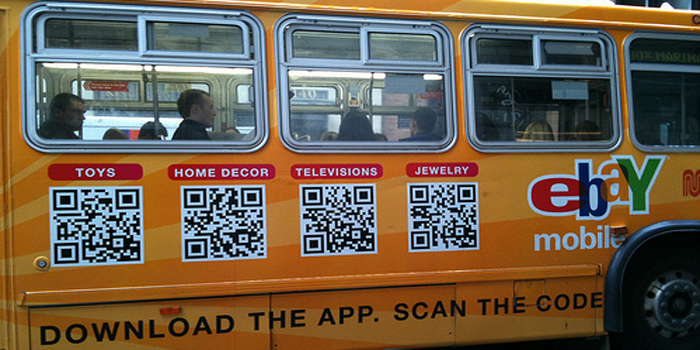 QR code - users with a camera phone equipped with the correct reader application can scan the image of the QR code to display text, contact information, connect to a wireless network, or open a web page in the telephone's browser.