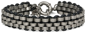 Replay Unisex braided leather & metal bracelet 22 cm in length: US$85.