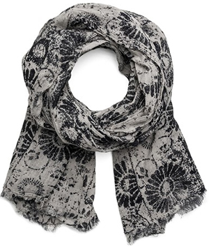 Replay Men's cotton scarf in faux botched print: US$95.