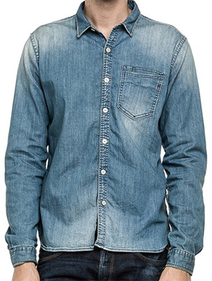Replay Men's denim shirt with back yoke, single-button placket, two breast flap pockets: US$220.