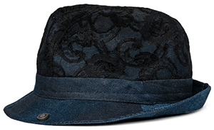 Replay Women's denim & lace fedora: US$98.