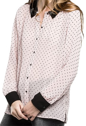 Replay Women's loose fit polyester/viscose plumetis chiffon shirt with contrast collar & cuffs, bombé hem, beading on collar: US$285.