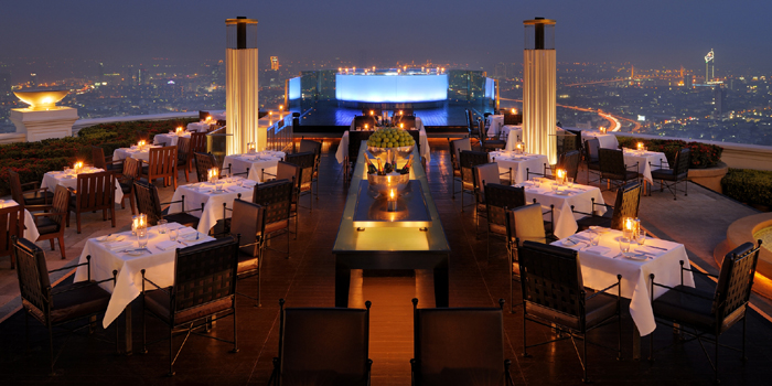Restaurant Sirocco located on the 63rd floor of The Dome at Lebua Hotel, 1055 Silom Road, Bangkok 10500, Thailand.