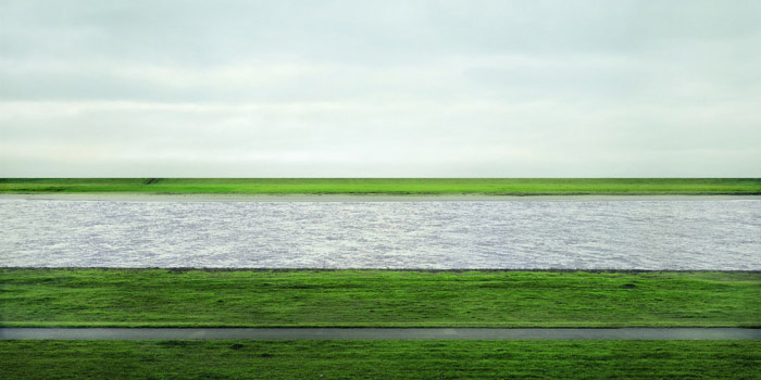 Rhein II is a photograph made by German visual artist Andreas Gursky (1955-) in 1999.