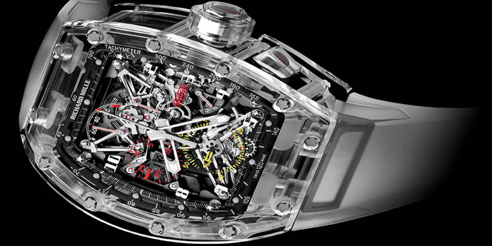 Richard Mille Sapphire Crystal Watch: RM 56 Felipe Massa Sapphire. Limited edition: 5 pieces. Price: US$1.7 million.
