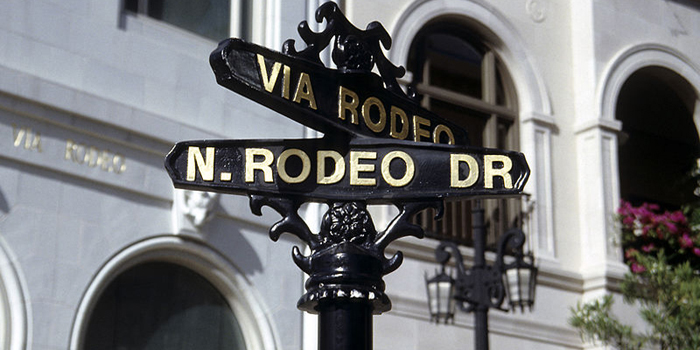 Rodeo Drive, Beverly Hills, California, U.S.A. Shopping district known for designer label and haute couture fashion extends from Wilshire Boulevard to Santa Monica Boulevard.