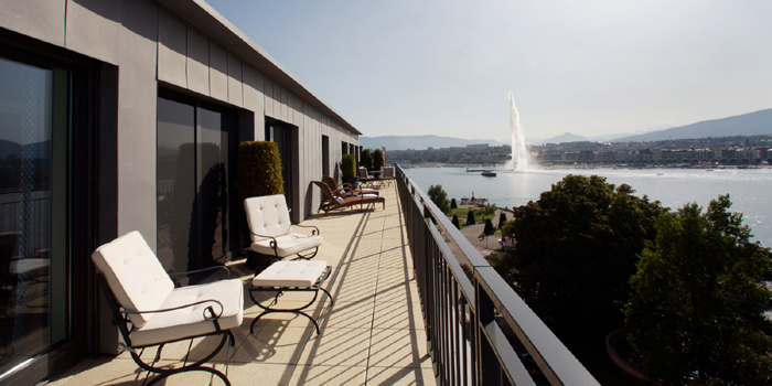The view from the terrace of the Royal Armleder Suite at Le Richemond, Rue Adhémar-Fabri 8, 1201 Genève, Switzerland.
