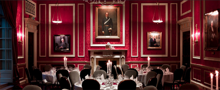 The dinnig room of The Royal Automobile Club, 89 Pall Mall, London SW1Y 5HS, England, U.K.
