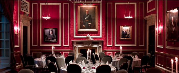 The dinnig room of The Royal Automobile Club, 89 Pall Mall, London SW1Y 5HS, England, U.K.