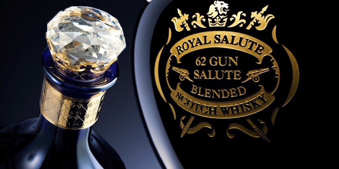 Royal Salute blended Scotch whisky - launched on 2 June 1953 by Chivas Brothers in tribute to Queen Elizabeth II on the day of her coronation. Named after the traditional 21-gun salute, Royal Salute whisky is aged for a minimum of 21 years.