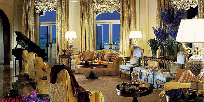 The Royal Suite living room at Four Seasons Hotel Doha, The Corniche, Doha, Qatar.