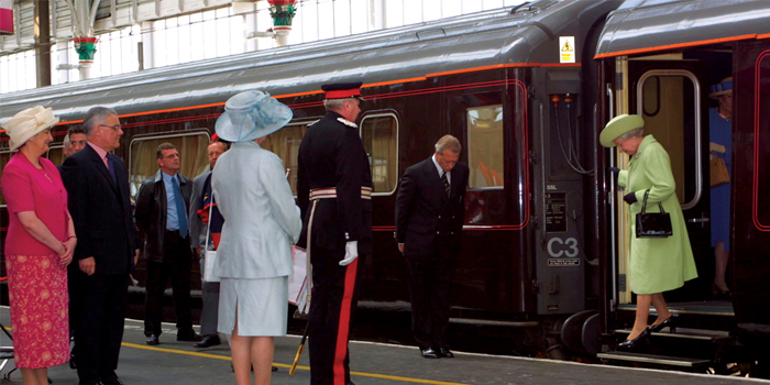 Queen Elizabeth II alights from The Royal Train.