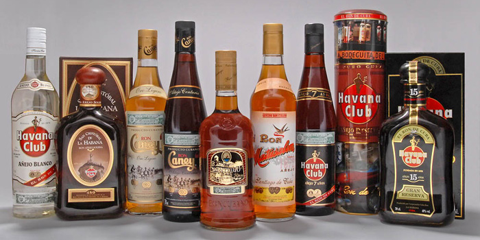 A selection of rum bottles.