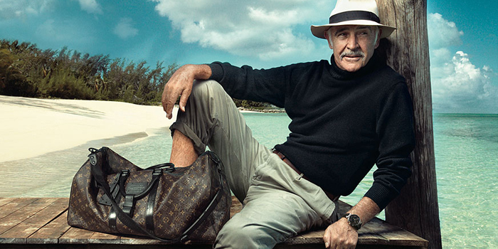 Sean Connery stars in Louis Vuitton advertisement, photographed by Annie Leibovitz on a beach near his home in the Bahamas (2008).