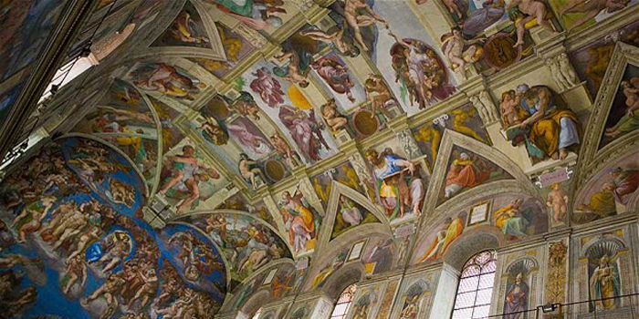 Sistine Chapel is the best-known chapel of the Apostolic Palace, the official residence of the Pope in the Vatican City. Under the patronage of Pope Julius II, Michelangelo painted 1,100 m² (12,000 sq ft) of the chapel ceiling between 1508 and 1512.