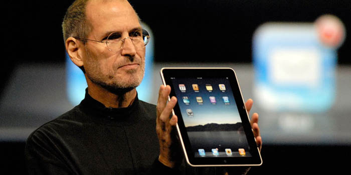 Steve Jobs presenting the first iPad on April 3, 2010.